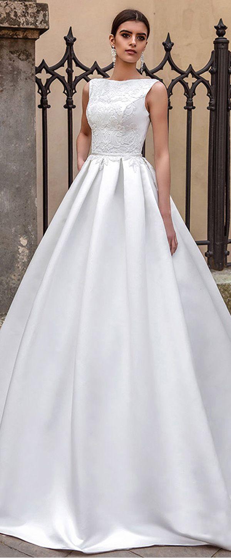 Elegant Satin Bateau Neckline A-line Wedding Dresses With Lace Appliques