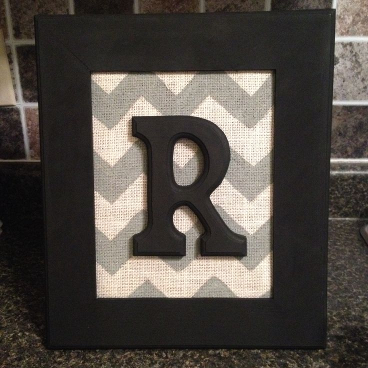 Chevron burlap framed monogram letter home decor