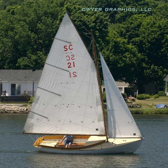 """The Herreshoff Fish Class Sloop first appeared in 1915 as the larger sister of the Buzzard's Bay 12 1/2, """"Dough dish"""" or """"Bullseye"""" sloop. The two small sailboats at 12 1/2 and 16 feet waterline length, were designed to handle the steep chop that can develop suddenly on any given summer's afternoon around Buzzards Bay. And with their proven seakeeping character, it's no wonder these two versions have gained so much favor over the years."""