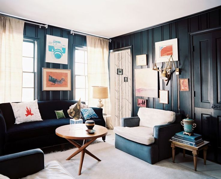 panelling painted black: Interior Design, Living Rooms, Idea, Black Walls, Interiors, Livingroom, Dark Walls, Family Room