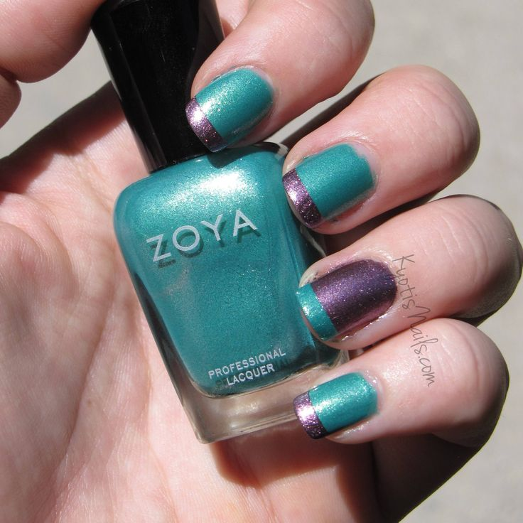 Zoya Nail Polish in Zuza with Zoya Rea tips with a reverse accent nail!: Nails Design