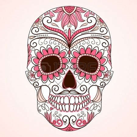 20468377-day-of-the-dead-colorful-skull-with-floral-ornament.jpg (450×450)