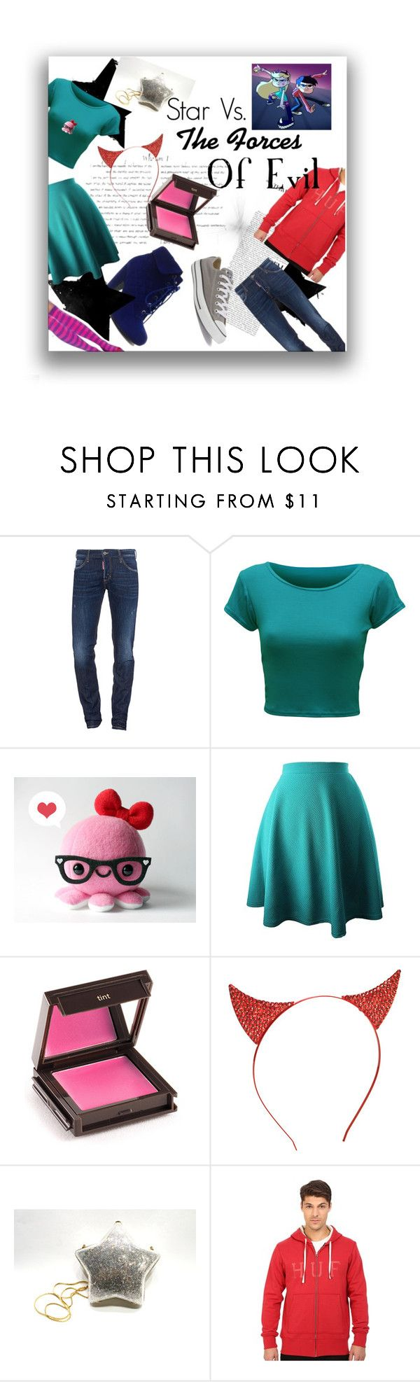 """Star Vs. The Forces Of Evil inspo"" by sam-mars ❤ liked on Polyvore featuring Dsquared2, WearAll, Jouer, Judith Leiber, HUF and Converse"