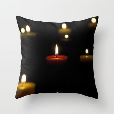 Dark candles Throw Pillow by Oscar Tello Muñoz - $20.00