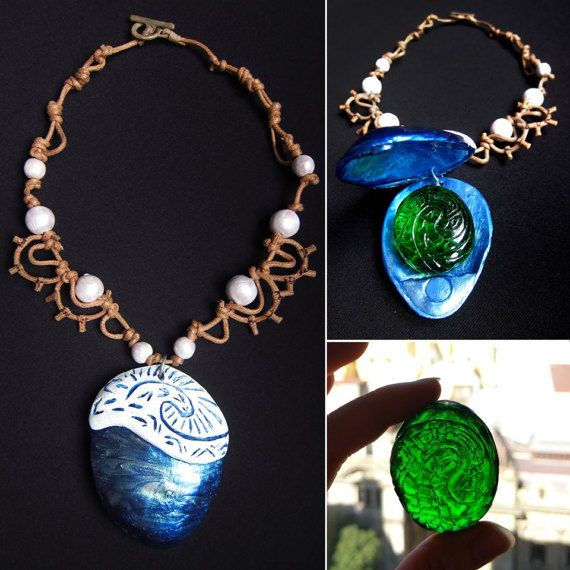 Moana's Necklace and The Heart of Te Fiti by LHTCreations on Etsy