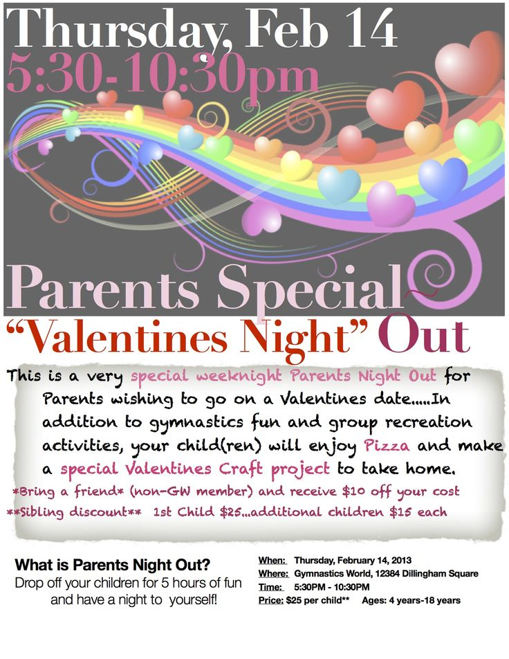 Valentnes Day Parents Night Out Flyer Template