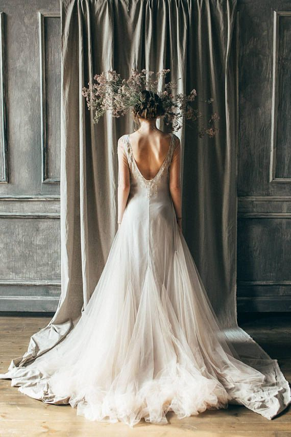 Nude tulle wedding dress with open back, long train... #weddinggown #weddingdress #bride #engaged #bridalfashion