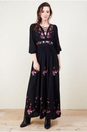fbd9b88163e6 Vita Black Embroidered Maxi Dress - Earthbound Trading Co. | i wants ...