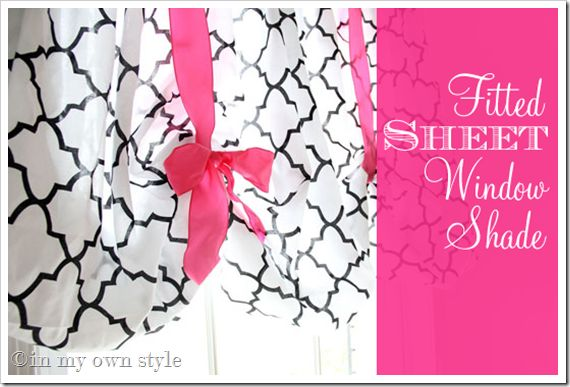 Window Valance from a fitted sheet tutorial: Fitted Sheets, Sheet Window, No Sewing Window, Fit Sheet, No Sewing Curtains, Balloon Curtains, Window Treatments, Sheet Curtains, Window Valances