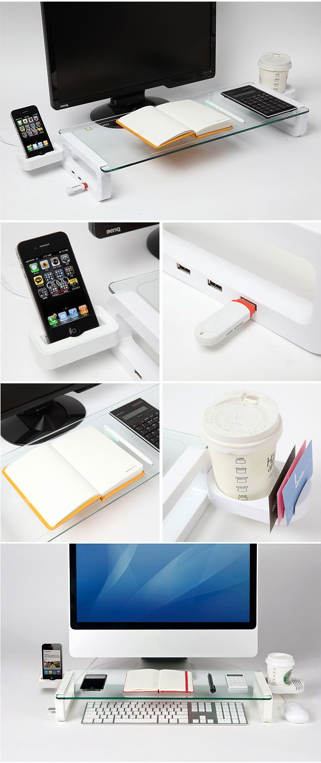 U-Board: Multifunction Board with built-in 3 Port USB Hub - made for hiding a keyboard & for putting gadgets on its glass plate. Also has a cup holder that can be installed on the right or left and three USB 2.0 ports on the left. $56