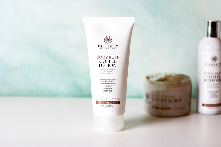 Puresty Naturals Body Buff Coffee Lotion - 100% Natural to aid cellulite, skin ageing and to tone, and tighten skin. Organic Coffee Body Lotion. Halal skincare. Vegan skincare. The Natural Beauty Co.