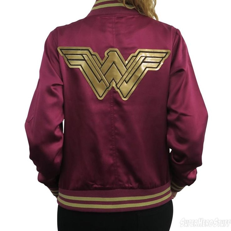 The Wonder Woman Movie Logo Women's Bomber Jacket is a striking zip-up jacket featuring embroidered, movie-specific Wonder Woman logo's and a zip-up arm pocket.