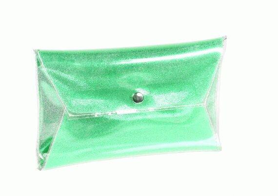 Green clear clutch handbag sparkle purse glitter by YPSILONBAGS