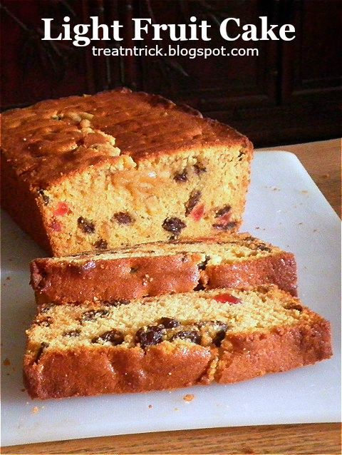 TREAT & TRICK: LIGHT FRUIT CAKE This light fruit cake is  what some people prefer. It can be cooked in under pan sizes
