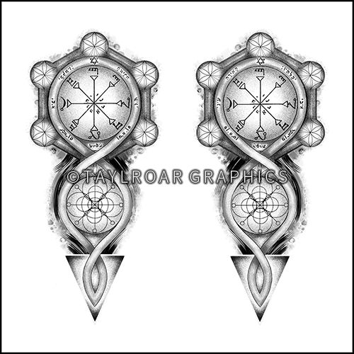 Twin tattoo design for both forearms with occult symbols. Custom tattoo design. www.taylroargraphics.com