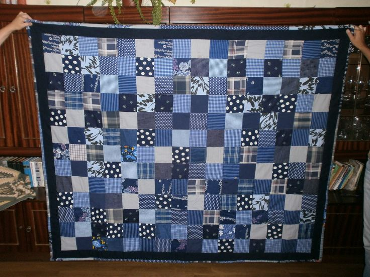 лоскутное одеяло синее