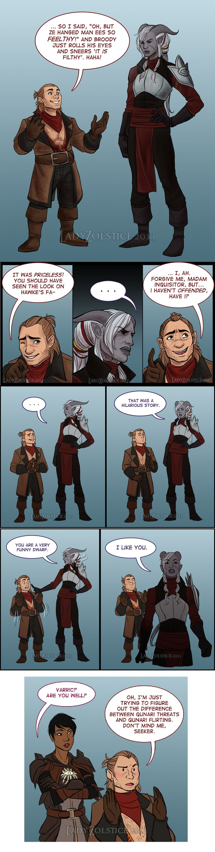 """I NOW REALLY NEED VARRIC TO BE A ROMANCE OPTION BECAUSE OF REASONS < But uggggh I love varric/femhawke!"""