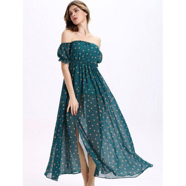 teal blue and polka dots long dress