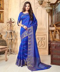 Blue Color Tusser Silk Festival & Party Wear Sarees (Includes Two Blouses) : Pranali Collection  YF-40691