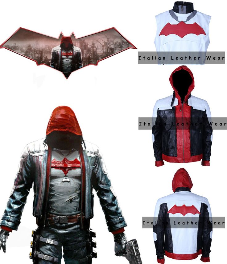 Halloween Batman Arkham Knight Red hood Synthetic Leather Jacket & Vest Costume