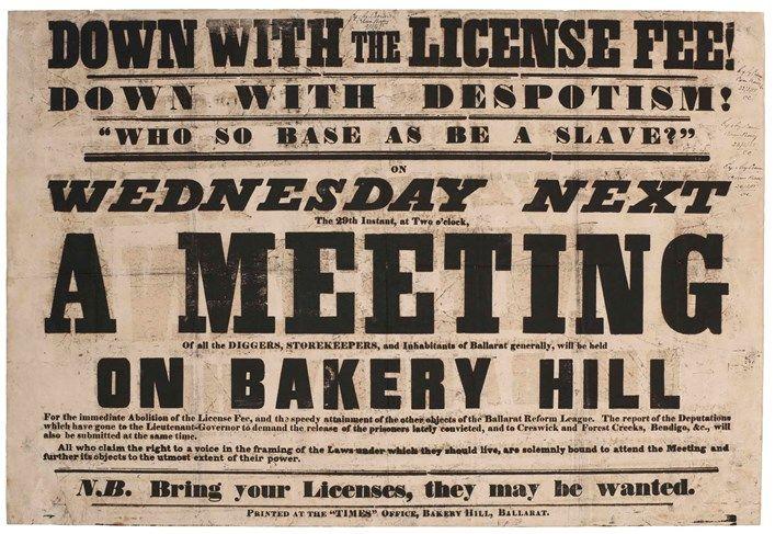 A Meeting on Bakery Hill poster Eureka stockade inc 6 thinking hats etc