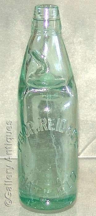 antique Victorian Pryor, Reid & Co Ltd, Hatfield Aqua colour Glass mineral Codd water Bottle with Marble c.1900 The Rylands (ref: 71312-71)