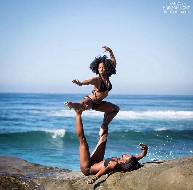 """Truly one of the MOST AMAZING YOGA demonstrations ever!!!  This make the old cliche'... """"a picture is worth a thousand words""""... an understatement!  SPLENDID!!  AWESOMELY CAPTURED... MAGNIFICENCE OF STRENGTH in union of 2 bodies of YOGA!! ~ Blackbutterfly Expressions/ Blackbutterfly Wings of Health"""