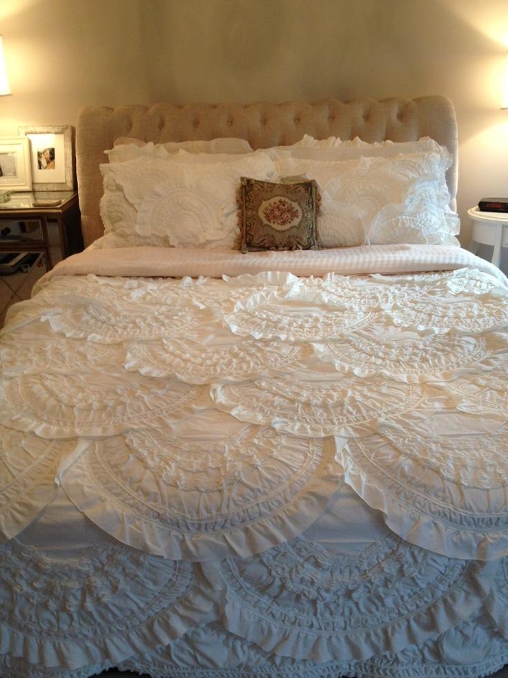 Anthropologie Rivulets Quilt & Shams in Ivory | Bedroom