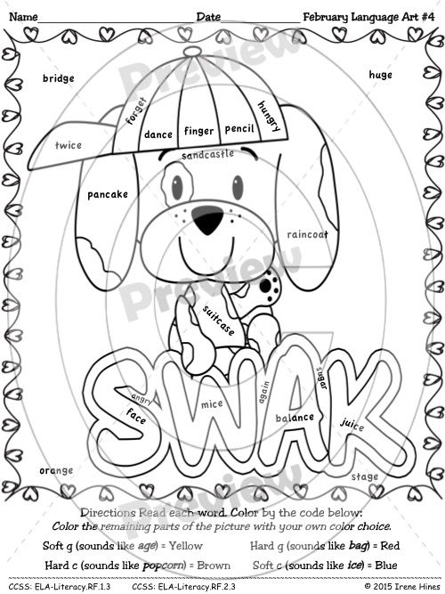 Language Art : February Edition ~ Seasonal Color By The Code Printable Puzzles For Language Arts This set includes 6 language arts puzzles: ~ Two Color By Synonyms, Antonyms, Homophones, Compound & Rhyming Words ~ Two Color By Hard and Soft C and G Sounds ~ Two Color By Types of Contractions (is, have, not, will) $