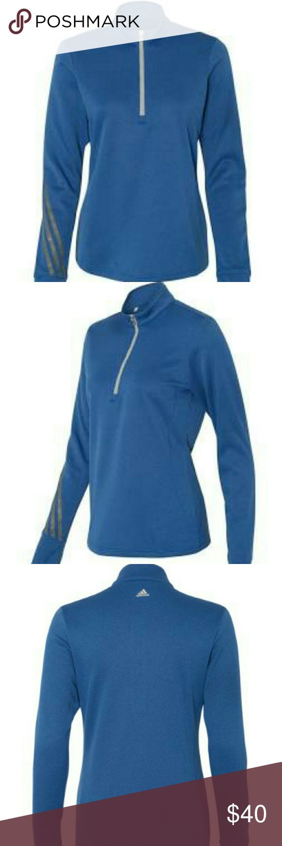 Adidas Golf A275 Ladies' Heather 3-Stripes Quarter 100% polyester with hydrophilic finish Lightweight fabric and smooth handfeel Princess side seaming for shaping 3-stripes heat transfer on right forearm Thumb hole opening on cuffs Adidas brandmark on back center neck adidas Tops
