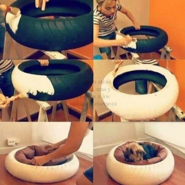 DIY Tire Pet Bed - may want to make sure the paint is pet friendly if you have a dog that likes to lick or chew things...