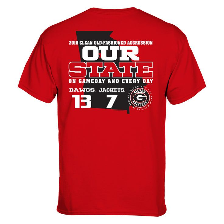 Georgia Bulldogs vs. Georgia Tech Yellow Jackets 2015 Our State Rivalry Score T-Shirt - Red - $18.99