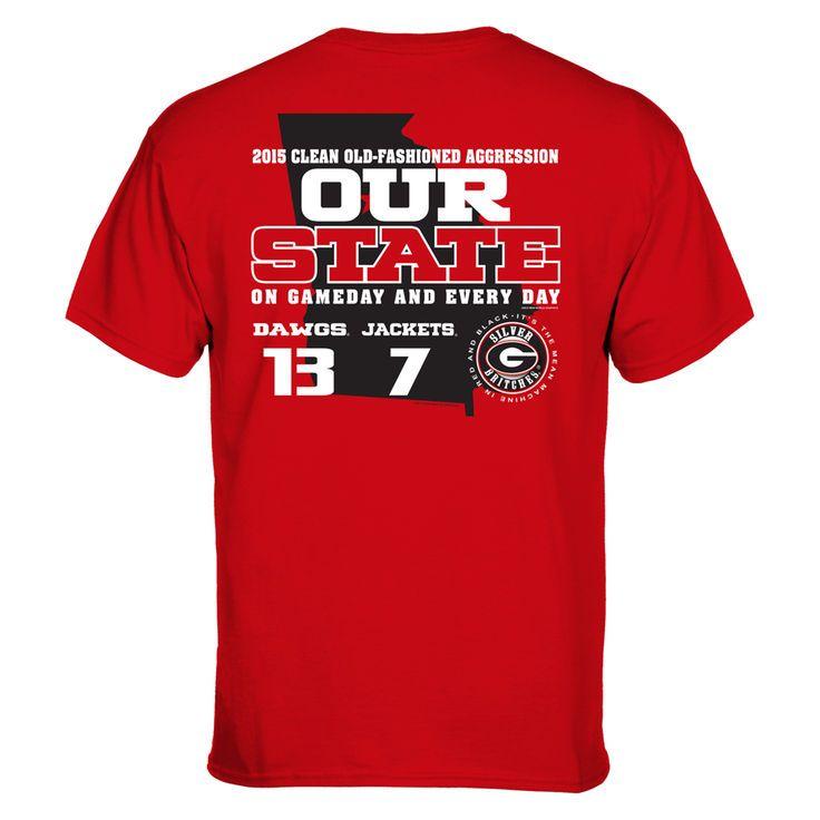 Georgia Bulldogs vs. Georgia Tech Yellow Jackets 2015 Our State Rivalry Score T-Shirt - Red - $18.99