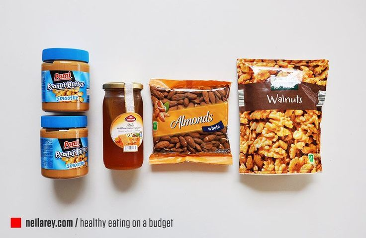 Healthy Eating on a Budget - Cupboards: peanut butter, tuna, beans, mushrooms, tomatoes, honey and nuts