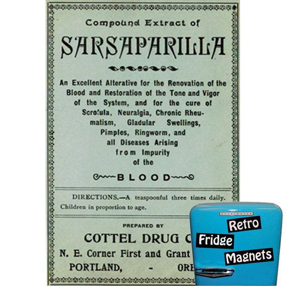 Retro Sarsaparilla label Funny Fridge Magnet by RetroFridgeMagnets, $2.00