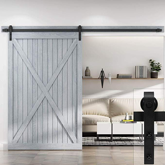 Easelife 10 Ft Heavy Duty Sliding Barn Door Hardware Track Kit Diy Easy Install Ultra Sturdy And Sl Barn Door Hardware Sliding Barn Door Hardware Barn Door