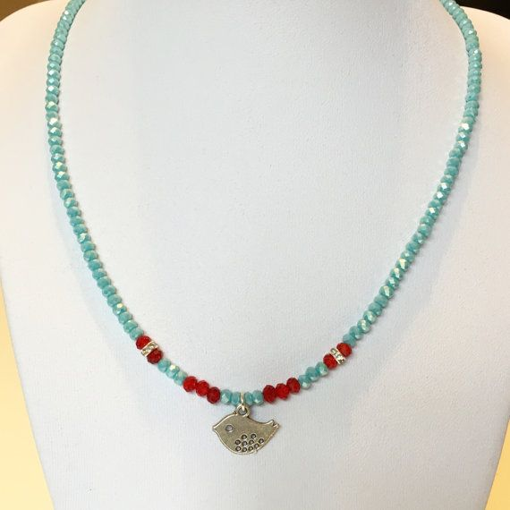 Bird Necklace Blue Necklace Red Necklace Beaded Necklace