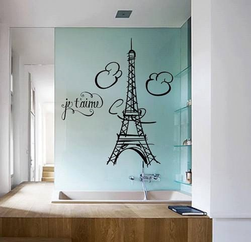 Park Lane Couture Oversized Je' taime Eiffel tower Paris france wall mural decal on Etsy, $36.99