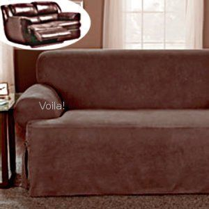 Reclining T Cushion Sofa Slipcover Suede Chocolate Adapted For Dual Recliner Couch