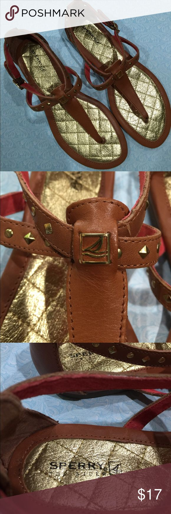 Sperry Top Sider sandals size 8 Brown leather Sperry sandals with gold color grommet detail size 8 Sperry Shoes Sandals