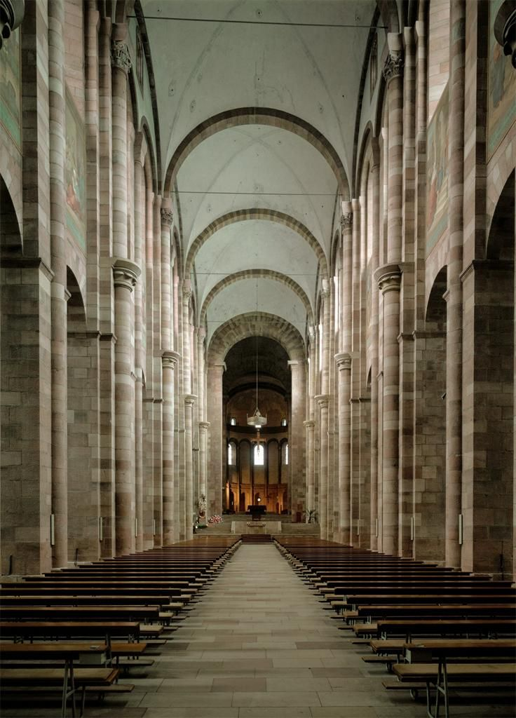 [Unknown, Speyer Cathedral, Speyer, Germany, ca. 1082-1105, Stone, Romanesque art in Holy Roman Empire] This is an interior view of central nave towards east choir of Speyer Cathedral, the largest building in the Christian world of the era. Since the Salian Emperors were the greatest patron and they bought art to show their power, this cathedral is also known as an architectural symbol of the power of Salian Dynasty.  (Kleiner 445-446, Oxford Art Online)