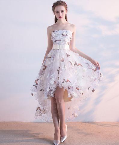 bcbf68bc9dc White tulle applique long prom dress