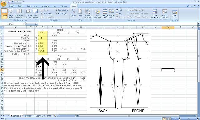 Free Pattern Drafting Calculator for Your Measurements  http://grosgrainfabulous.blogspot.com/2013/08/free-pattern-drafting-calculatorand-my.html