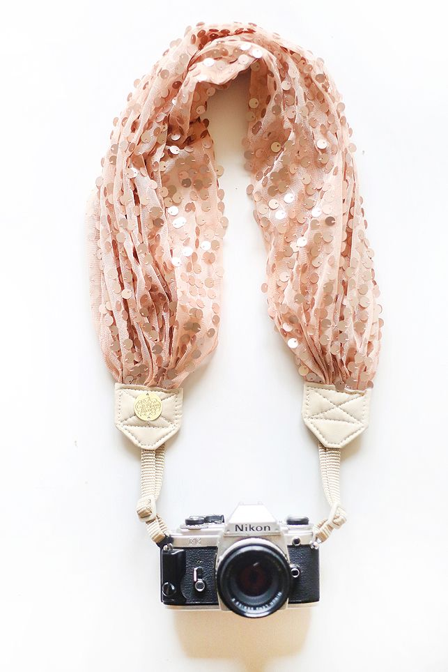 peach sequin camera scarf