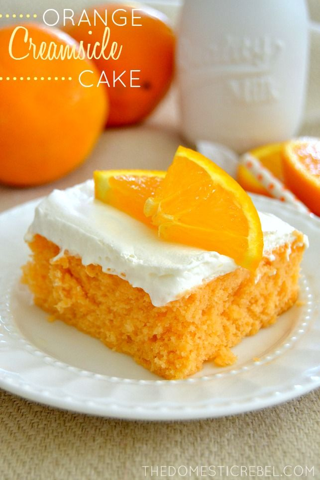 This Skinny Orange Creamsicle Cake is a cake to behold! Bursting with juicy orange and sweet cream flavor, it's a classic that's been lightened-up to a figure-friendly recipe. from @hayleyparker08