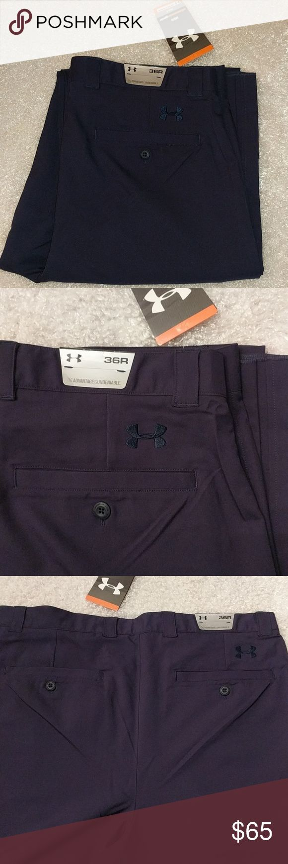 """Under Armour Allseasongear Navy Golf Pants Under Armour Allseasongear Navy Golf Pants. NWT  Waist size 36R; Rise 13.25"""" Unhemmed so that you can have hemmed to your personal Inseam fit. 100% polyester Dark Navy Blue Under Armour Pants Chinos & Khakis"""