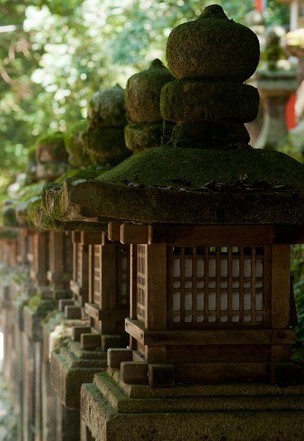 Stone lanterns at Kasuga Taisha shrine, Nara, Japan