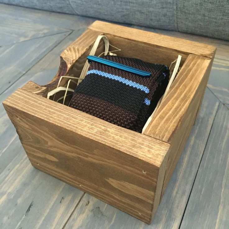 Tie and Tie Bar Men's Gift Set: Reclaimed Wood Box, Skinny Striped Brown, Blue…