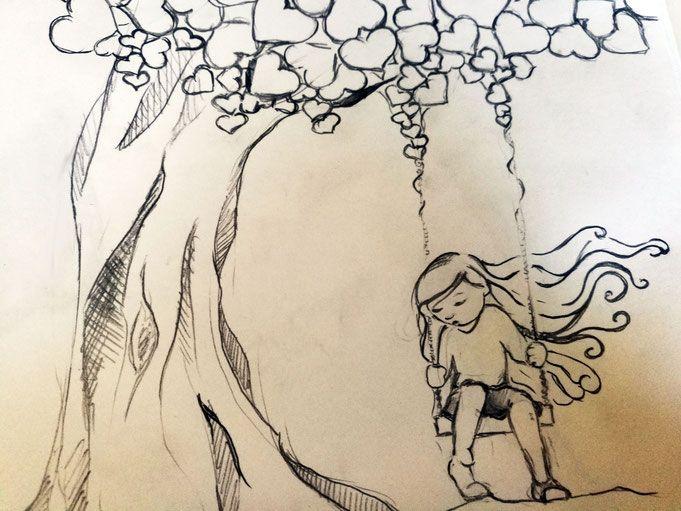 Blog - Benvenuti su ilariabicchi! Bambina disegno albero cuori altalena
