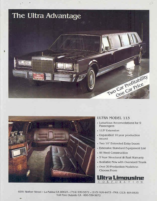 1988 Lincoln Continental Towncar Ultra Model 113 Limousine by Ultra Limousine Corporation Brochure